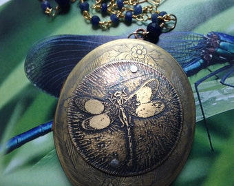 Etched Dragonfly Large Vintage Brass  Locket Rosary Style  Necklace with Gold, Sapphire 40 in