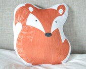 Fox Plush Animal Pillow Woodland Nursery Decor Handmade Decorative Cushion Kids Bedding Forest Nursery Theme Unique Baby Shower Gift