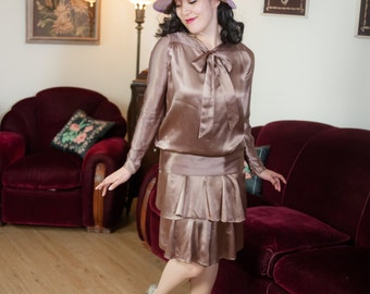 Vintage 1920s Dress - Luscious Cocoa Brown Silk Charmeuse Satin Two Piece 20s Dress with Kitten Bow and Fluttering Slip
