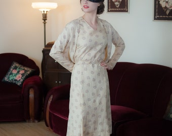 Vintage 1930s Dress Set - Fantastic Deco Print Ivory Slubbed Silk 30s Dress with Matching Jacket