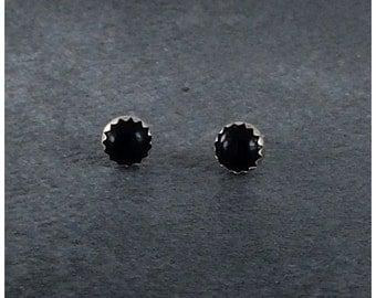 Black Onyx Earrings, Sterling Earrings, Black Onyx Post Earrings, Sterling Onyx Earrings, Black Onyx Post Earrings 6mm