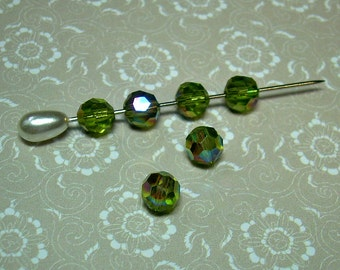 6 Vintage West German Glass Beads Olivine AB 6mm Green