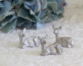 Vintage Pewter Deer Miniature Figurine Set of Three Woodland Creatures