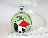 """Happy Pawlidays Boston Terrier Changeable Magnetic Pendant Necklace with 1"""" Button Magnet Christmas"""