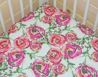 floral baby bedding- purple crib sheet- girl baby bedding- fitted crib sheet / mini crib sheet/ changing pad cover- floral girl crib bedding