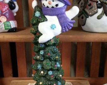 Light Up Ceramic Christmas Tree with Snowman