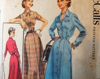 McCall's 3618 - Cute 1950s Vintage Dress Pattern - Button Front Day Dress - Size 16 (Bust 34) - Cute, Classic Style - Shirtdress Shirtwaist