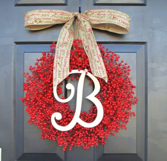 Monogram Red Berry Christmas Wreath- Monogram Wreaths- Holiday Wreath Personalized Gift- WEATHERPROOF Berries, Designer Bow 16-24