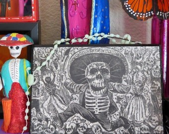 Vintage Reproduced  Jose Posada Calaveras (skull) Day of the Dead Tile - Macabre and quite fabulous- Glow in the Dark Rosary