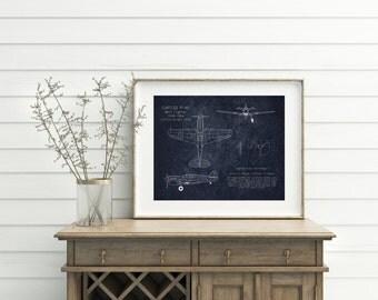 "16 x 20"" P-40 Tomahawk WWII airplane blueprint art, warhawk, aircraft blueprint, airplane decor, aviation art, husband gift, christmas gift"