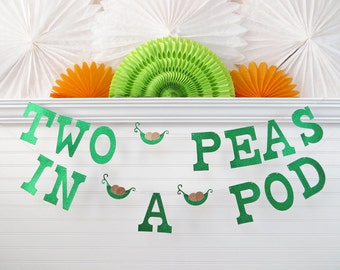 Glitter Two Peas In A Pod Banner - 5 inch Letters with Peas - Pea Pod Baby Shower Twin Peas Banner Twin Baby Shower 2 Peas In A Pod Banner