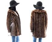 Mink Fur Coat Vintage 50s Brown Leather PRISTINE Fur Coat