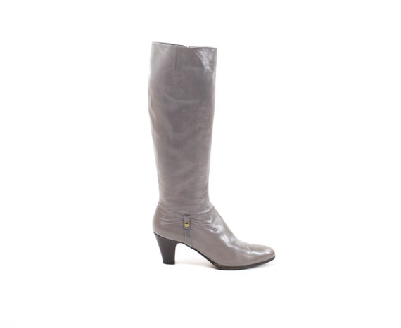Salvatore FERRAGAMO Boots Gray Leather Knee High Tall Riding Fashion Boots Size 9