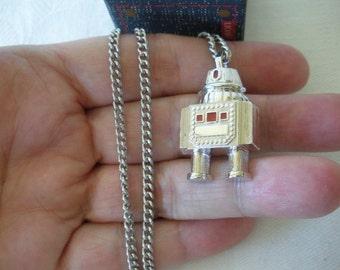 "NIB Avon 1979 ""GALACTIC ROBOT Pendant Neckchain"" Pendant on Silver Chain--Original Box (16"" and 18"" Chain Available) Sci Fi Robot"