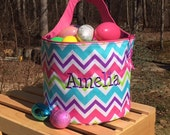 Pink and purple multi- colored Chevron Easter Bucket.  Personalized Easter bag.   Monogrammed Easter Tote Bag.  Candy bag.