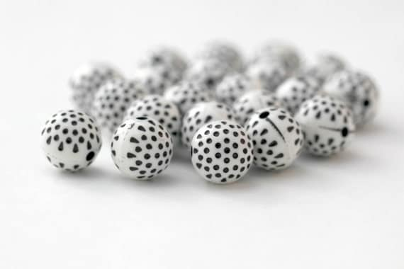 Carved Dimpled Round Black White Polka Dot Acrylic Beads 12mm (20)