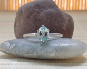 Brazilian Aquamarine Ring Sterling Silver March Birthstone Made To Order