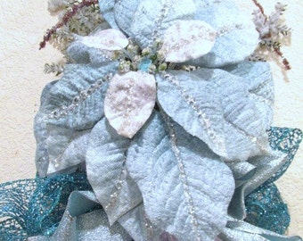 Vertical Door Swag in Icy Aqua Turquoise, Lavender, Snowy White & Silver for Christmas or Home Decor with Victorian style beaded fringe bow