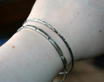SELL OUT ... Vintage  Sterling Silver heavy Bangle   Bracelet  with very unique  Design Just Beautiful and so elegant