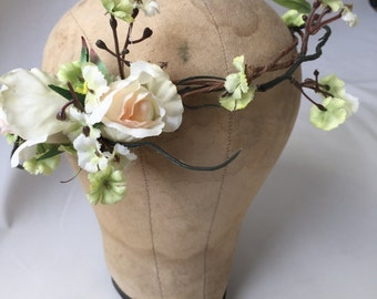 Simple Floral Crown, Wedding Headpiece