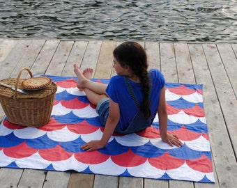 ORGANIC Picnic Blanket, Fourth of July, Roll Up Picnic Blanket, Waterproof Beach Blanket (Ready to Ship)