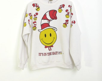 """Vintage """"It's In the Hat"""" (Cat in the Hat-inspired) Sweatshirt size Large"""