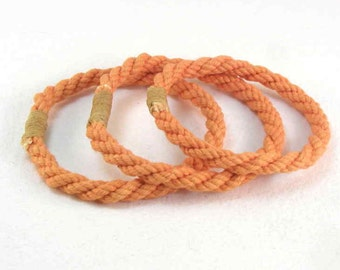 tangerine orange rope bracelets twisted cord style soft bangles hand dyed cotton rope jewelry 1919