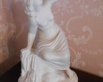 SNAKE CHARMER 1930's Nude Woman with Snake Statue MYSTICAL Vintage Lady Snake Charmer Figurine Art Nouveau Dark Romance Dark Fairy Tale