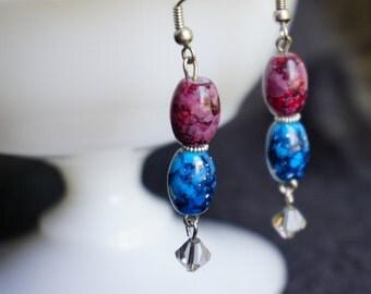 Burgandy and Teal drop earrings