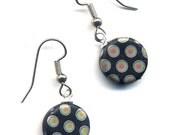 Surgical Steel Earrings, Black Earrings, Art Nouveau Black and Iridescent Czech Beads Earrings, Peacock Earrings, handmade by Annaart72