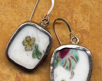 Broken China Earrings, Antique Ming Style Pottery Earrings, Sterling Silver Ear Wire, Butterfly Recycled Earrings, jewelry by AnnaArt72