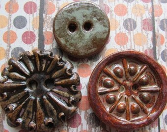 Try My Line Rust Brown button Mix, handmade ceramic buttons, artistic buttons, stoneware, The Classic Bead, Classic Bead, tracee, Leather