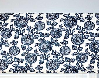 Blue Flower Valance Curtain, Premier Prints Mums in Premier Navy, Blue White, Floral, Blossoms - Choose Size