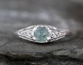 Light Blue Montana Sapphire Ring - Sterling Silver Filigree  - Engagement Ring - September Birthstone - Raw Uncut Rough Gemstone Rings