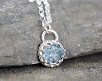 Raw Blue Diamond and Sterling Silver Necklace - Vintage Look - Rustic Round Shape - Rough Uncut Blue Diamond Pendant - April Birthstone