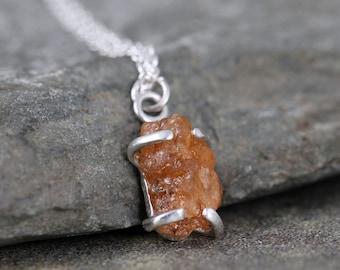 Mandarin Orange Spessartite Garnet Pendant - Sterling Silver Necklace - Orange Raw Gemstone Pendant - January Birthstone