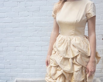 1960s Vintage Dress Gold Ruffle Cupcake Party