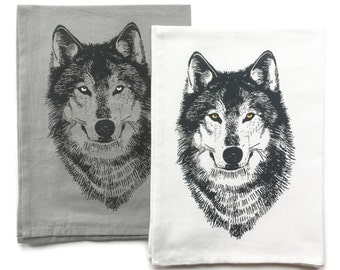 Wolf Kitchen Towels - Hand Towel - Tea Towels - Woodland Dish Towel - Dish Cloths - Housewarming Gift - Wedding Gift - Hostess Gift - Wolf