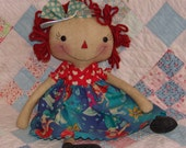 Ariel Mermaid inspired Primitive Cloth doll set, Raggedy doll princess, Handmade primitive Rag doll