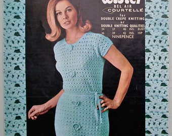 Vintage Crochet Pattern 1960s Women's Dress 60s UK original pattern wiggle dress lacy design sleeveless Lister N1626