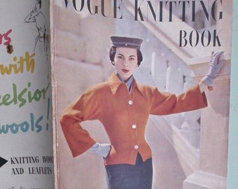 Vogue Knitting Book No. 38 1951 - Vintage Knitting Patterns 1950s Womens Sweaters Jumpers Cardigans Dresses 50s original patterns