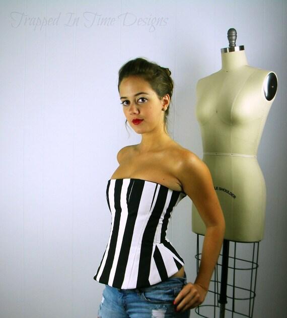 Bustier Top, Stripe Top, Stripe Corset, Striped Bustier, Black and White Stripe, Corset, Circus, Costume, Carnival