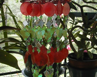 1 Tier Red  Capiz , Green Iridescent Butterflies and Glass Bead Wind chime