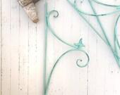 SALE, Iron Bird Plant Hangers, French Garden Decor, Aqua Decor, Mint Green, Plant Hook, Metal Wall Decor