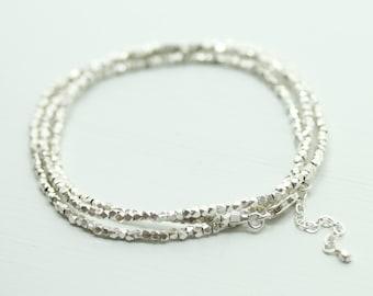 Fine silver wrap bracelet - dainty silver bracelet - minimalist bracelet - adjustable bracelet - delicate tiny beaded bracelet - Sea & Cake