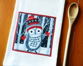 Christmas Towel - Holiday Flour Sack Dish Towel - Owl Holiday Kitchen Towel, Owl Flour Sack Dish Towel, Holiday Kitchen Decor, Owl Decor