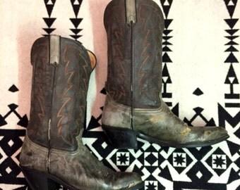 Vintage Cowboy Boots Mens Cowboy Boots Size 10 D Black Cowboy Boots Red White Stitched Pattern Leather Southwestern Boots Durango