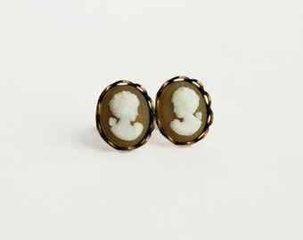 Small Cameo Post Earrings Yellow Ocher Victorian Vintage Portrait Cameo Studs Hypoallergenic Vintage Style Jewelry