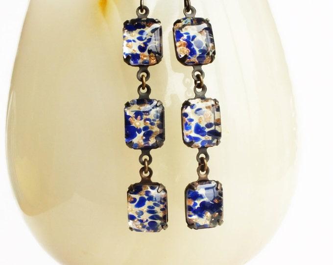 Blue Lampwork Earrings Dark Blue Glass Dangles Vintage Lampwork Navy Blue Goldstone Floating Glass Jewelry