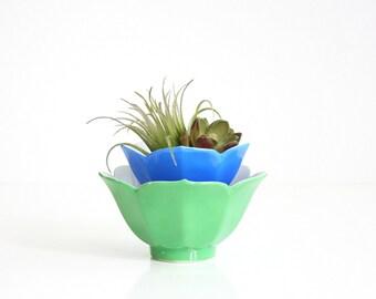 Vintage Green and Blue Porcelain Lotus Bowls / Colorful Mid Century Lotus Bowls